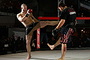 MONTREAL, QC - MARCH 13:  Nate Marquardt (L) conducts an open training session for fans and media ahead of his UFC 158 bout at Complexe Desjardins on March 13, 2013 in Montreal, Quebec, Canada.  (Photo by Josh Hedges/Zuffa LLC/Zuffa LLC via Getty Images)