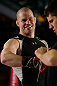 MONTREAL, QC - MARCH 13:  Nate Marquardt conducts an open training session for fans and media ahead of his UFC 158 bout at Complexe Desjardins on March 13, 2013 in Montreal, Quebec, Canada.  (Photo by Josh Hedges/Zuffa LLC/Zuffa LLC via Getty Images)