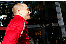 MONTREAL, QC - MARCH 13:  UFC welterweight champion Georges St-Pierre stands in the Octagon during the UFC 158 open workouts at Complexe Desjardins on March 13, 2013 in Montreal, Quebec, Canada.  (Photo by Josh Hedges/Zuffa LLC/Zuffa LLC via Getty Images)