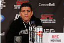 MONTREAL, QC - MARCH 14:  Nick Diaz interacts with media during the final press conference ahead of his UFC 158 bout at Bell Centre on March 14, 2013 in Montreal, Quebec, Canada.  (Photo by Josh Hedges/Zuffa LLC/Zuffa LLC via Getty Images)