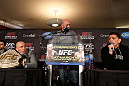MONTREAL, QC - MARCH 14:  Nick Diaz (R) and Georges St-Pierre (L) argue with each other during the final press conference ahead of his UFC 158 bout at Bell Centre on March 14, 2013 in Montreal, Quebec, Canada.  (Photo by Josh Hedges/Zuffa LLC/Zuffa LLC via Getty Images)