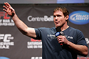 MONTREAL, QC - MARCH 15: Matt Hughes interacts with fans during a Q&amp;A session before the UFC 158 weigh-in at Bell Centre on March 15, 2013 in Montreal, Quebec, Canada. (Photo by Josh Hedges/Zuffa LLC/Zuffa LLC via Getty Images)