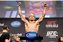 MONTREAL, QC - MARCH 15:  T.J. Dillashaw weighs in during the UFC 158 weigh-in at Bell Centre on March 15, 2013 in Montreal, Quebec, Canada.  (Photo by Josh Hedges/Zuffa LLC/Zuffa LLC via Getty Images)
