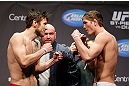 MONTREAL, QC - MARCH 15:  (L-R) Dan Miller and Jordan Mein face off during the UFC 158 weigh-in at Bell Centre on March 15, 2013 in Montreal, Quebec, Canada.  (Photo by Josh Hedges/Zuffa LLC/Zuffa LLC via Getty Images)