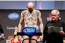 "MONTREAL, QC - MARCH 15:  Colin ""Freakshow"" Fletcher weighs in during the UFC 158 weigh-in at Bell Centre on March 15, 2013 in Montreal, Quebec, Canada.  (Photo by Josh Hedges/Zuffa LLC/Zuffa LLC via Getty Images) *** Loal Caption *** Colin Fletcher"
