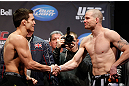 MONTREAL, QC - MARCH 15: Nate Marquardt and Jake Ellenberger displaying sportsmanship during the UFC 158 weigh-in at Bell Centre on March 15, 2013 in Montreal, Quebec, Canada.  (Photo by Josh Hedges/Zuffa LLC/Zuffa LLC via Getty Images)