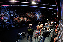 MONTREAL, QC - MARCH 15:  (R-L) Opponents Carlos Condit and Johny Hendricks face off during the UFC 158 weigh-in at Bell Centre on March 15, 2013 in Montreal, Quebec, Canada.  (Photo by Josh Hedges/Zuffa LLC/Zuffa LLC via Getty Images)