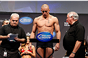 MONTREAL, QC - MARCH 15:  [CAPTION] during the UFC 158 weigh-in at Bell Centre on March 15, 2013 in Montreal, Quebec, Canada.  (Photo by Josh Hedges/Zuffa LLC/Zuffa LLC via Getty Images)