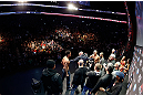 MONTREAL, QC - MARCH 15:  (R-L) Opponents Georges St-Pierre and Nick Diaz are separated by UFC president Dana White during the UFC 158 weigh-in at Bell Centre on March 15, 2013 in Montreal, Quebec, Canada.  (Photo by Josh Hedges/Zuffa LLC/Zuffa LLC via Getty Images)