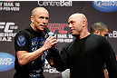 MONTREAL, QC - MARCH 15:  Georges St-Pierre speaks with Joe Rogan during the UFC 158 weigh-in at Bell Centre on March 15, 2013 in Montreal, Quebec, Canada.  (Photo by Josh Hedges/Zuffa LLC/Zuffa LLC via Getty Images)