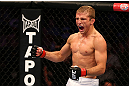 MONTREAL, QC - MARCH 16: T.J. Dillashaw reacts to his win over Issei Tamura in their bantamweight bout during the UFC 158 event at Bell Centre on March 16, 2013 in Montreal, Quebec, Canada.  (Photo by Jonathan Ferrey/Zuffa LLC/Zuffa LLC via Getty Images)