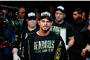 MONTREAL, QC - MARCH 16: Daron Cruickshank enters the arena before lightweight bout against John Makdessi during the UFC 158 event at Bell Centre on March 16, 2013 in Montreal, Quebec, Canada.  (Photo by Jonathan Ferrey/Zuffa LLC/Zuffa LLC via Getty Images)