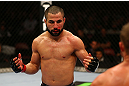 MONTREAL, QC - MARCH 16: (L-R) John Makdessi fights against Daron Cruickshank in their lightweight bout during the UFC 158 event at Bell Centre on March 16, 2013 in Montreal, Quebec, Canada.  (Photo by Jonathan Ferrey/Zuffa LLC/Zuffa LLC via Getty Images)