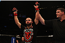 MONTREAL, QC - MARCH 16: John Makdessi reacts after winning his fight against Daron Cruickshank during the UFC 158 event at Bell Centre on March 16, 2013 in Montreal, Quebec, Canada.  (Photo by Jonathan Ferrey/Zuffa LLC/Zuffa LLC via Getty Images)