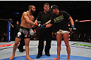 MONTREAL, QC - MARCH 16: John Makdessi and Daron Cruickshank shake hands after the fight during the UFC 158 event at Bell Centre on March 16, 2013 in Montreal, Quebec, Canada.  (Photo by Jonathan Ferrey/Zuffa LLC/Zuffa LLC via Getty Images)