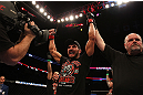 MONTREAL, QC - MARCH 16: Patrick Cote celebrates his win against Bobby Voelker in their welterweight bout during the UFC 158 event at Bell Centre on March 16, 2013 in Montreal, Quebec, Canada.  (Photo by Jonathan Ferrey/Zuffa LLC/Zuffa LLC via Getty Images)
