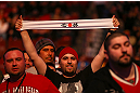 MONTREAL, QC - MARCH 16:  Georges St-Pierre fans at the UFC 158 event at Bell Centre on March 16, 2013 in Montreal, Quebec, Canada.  (Photo by Jonathan Ferrey/Zuffa LLC/Zuffa LLC via Getty Images)