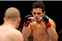 MONTREAL, QC - MARCH 16:  (R-L) Jake Ellenberger squares off with Nate Marquardt in their welterweight bout during the UFC 158 event at Bell Centre on March 16, 2013 in Montreal, Quebec, Canada.  (Photo by Josh Hedges/Zuffa LLC/Zuffa LLC via Getty Images)