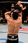 MONTREAL, QC - MARCH 16:  Jake Ellenberger reacts after knocking out Nate Marquardt in their welterweight bout during the UFC 158 event at Bell Centre on March 16, 2013 in Montreal, Quebec, Canada.  (Photo by Josh Hedges/Zuffa LLC/Zuffa LLC via Getty Images)