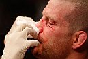 MONTREAL, QC - MARCH 16:  Nate Marquardt is treated after his knockout loss to Jake Ellenberger in their welterweight bout during the UFC 158 event at Bell Centre on March 16, 2013 in Montreal, Quebec, Canada.  (Photo by Josh Hedges/Zuffa LLC/Zuffa LLC via Getty Images)