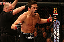 MONTREAL, QC - MARCH 16:  Jake Ellenberger reacts after knocking out Nate Marquardt in their welterweight bout during the UFC 158 event at Bell Centre on March 16, 2013 in Montreal, Quebec, Canada.  (Photo by Jonathan Ferrey/Zuffa LLC/Zuffa LLC via Getty Images)