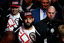 MONTREAL, QC - MARCH 16:  Johny Hendricks enters the arena before his welterweight bout against Carlos Condit during the UFC 158 event at Bell Centre on March 16, 2013 in Montreal, Quebec, Canada.  (Photo by Josh Hedges/Zuffa LLC/Zuffa LLC via Getty Images)