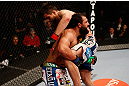 MONTREAL, QC - MARCH 16:  (L-R) Johny Hendricks attempts to take down Carlos Condit in their welterweight bout during the UFC 158 event at Bell Centre on March 16, 2013 in Montreal, Quebec, Canada.  (Photo by Josh Hedges/Zuffa LLC/Zuffa LLC via Getty Images)