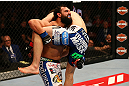 MONTREAL, QC - MARCH 16:  (L-R) Johny Hendricks attempts to take down Carlos Condit in their welterweight bout during the UFC 158 event at Bell Centre on March 16, 2013 in Montreal, Quebec, Canada.  (Photo by Jonathan Ferrey/Zuffa LLC/Zuffa LLC via Getty Images)