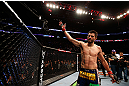 MONTREAL, QC - MARCH 16: Carlos Condit salutes the crowd after his three round battle against Johny Hendricks during the UFC 158 event at Bell Centre on March 16, 2013 in Montreal, Quebec, Canada.  (Photo by Josh Hedges/Zuffa LLC/Zuffa LLC via Getty Images)