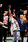 MONTREAL, QC - MARCH 16:  Johny Hendricks reacts after his victory over Carlos Condit in their welterweight bout during the UFC 158 event at Bell Centre on March 16, 2013 in Montreal, Quebec, Canada.  (Photo by Josh Hedges/Zuffa LLC/Zuffa LLC via Getty Images)