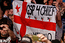 MONTREAL, QC - MARCH 16:  Fans display a flag in support of Georges St-Pierre during UFC 158 event at Bell Centre on March 16, 2013 in Montreal, Quebec, Canada.  (Photo by Josh Hedges/Zuffa LLC/Zuffa LLC via Getty Images)