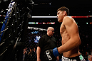 MONTREAL, QC - MARCH 16:  Nick Diaz enters in the Octagon before his welterweight championship bout against Georges St-Pierre during the UFC 158 event at Bell Centre on March 16, 2013 in Montreal, Quebec, Canada.  (Photo by Josh Hedges/Zuffa LLC/Zuffa LLC via Getty Images)