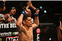 MONTREAL, QC - MARCH 16:  Nick Diaz stands in the Octagon before his welterweight championship bout against Georges St-Pierre during the UFC 158 event at Bell Centre on March 16, 2013 in Montreal, Quebec, Canada.  (Photo by Jonathan Ferrey/Zuffa LLC/Zuffa LLC via Getty Images)
