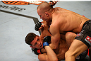 MONTREAL, QC - MARCH 16: (L-R) Georges St-Pierre lands a punch on Nick Diaz in their welterweight championship bout during the UFC 158 event at Bell Centre on March 16, 2013 in Montreal, Quebec, Canada.  (Photo by Jonathan Ferrey/Zuffa LLC/Zuffa LLC via Getty Images)