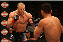 MONTREAL, QC - MARCH 16:  (L-R) Georges St-Pierre squares off with Nick Diaz in their welterweight championship bout during the UFC 158 event at Bell Centre on March 16, 2013 in Montreal, Quebec, Canada.  (Photo by Jonathan Ferrey/Zuffa LLC/Zuffa LLC via Getty Images)