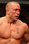 MONTREAL, QC - MARCH 16:  Georges St-Pierre reacts after his victory over Nick Diaz in their welterweight championship bout during the UFC 158 event at Bell Centre on March 16, 2013 in Montreal, Quebec, Canada.  (Photo by Jonathan Ferrey/Zuffa LLC/Zuffa LLC via Getty Images)