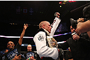 MONTREAL, QC - MARCH 16:  Georges St-Pierre reacts after winning his fight against Nick Diaz by a unanimous decision to retain his welterweight title in their welterweight championship bout during the UFC 158 event at Bell Centre on March 16, 2013 in Montreal, Quebec, Canada.  (Photo by Jonathan Ferrey/Zuffa LLC/Zuffa LLC via Getty Images)