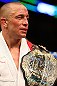 MONTREAL, QC - MARCH 16:  Georges St-Pierre reacts after defeating Nick Diaz in their welterweight championship bout during the UFC 158 event at Bell Centre on March 16, 2013 in Montreal, Quebec, Canada.  (Photo by Jonathan Ferrey/Zuffa LLC/Zuffa LLC via Getty Images)