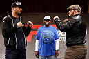 STOCKHOLM, SWEDEN - APRIL 03:  (L-R) Opponents Gegard Mousasi of USA and Ilir Latifi of Sweden face off during an interview session at the Grand Hotel on April 3, 2013 in Stockholm, Sweden.  (Photo by Josh Hedges/Zuffa LLC/Zuffa LLC via Getty Images)