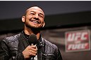 STOCKHOLM, SWEDEN - APRIL 05:  Cub Swanson interacts with fans during a Q&amp;A session before the UFC weigh-in at the Ericsson Globe Arena on April 5, 2013 in Stockholm, Sweden.  (Photo by Josh Hedges/Zuffa LLC/Zuffa LLC via Getty Images)