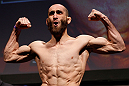 STOCKHOLM, SWEDEN - APRIL 05:  Adlan Amagov weighs in during the UFC weigh-in at the Ericsson Globe Arena on April 5, 2013 in Stockholm, Sweden.  (Photo by Josh Hedges/Zuffa LLC/Zuffa LLC via Getty Images)