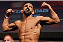 STOCKHOLM, SWEDEN - APRIL 05:  Reza Madadi weighs in during the UFC weigh-in at the Ericsson Globe Arena on April 5, 2013 in Stockholm, Sweden.  (Photo by Josh Hedges/Zuffa LLC/Zuffa LLC via Getty Images)