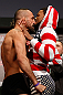 STOCKHOLM, SWEDEN - APRIL 05:  (L-R) Opponents Reza Madadi and Michael Johnson face off during the UFC weigh-in at the Ericsson Globe Arena on April 5, 2013 in Stockholm, Sweden.  (Photo by Josh Hedges/Zuffa LLC/Zuffa LLC via Getty Images)