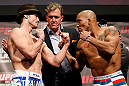 STOCKHOLM, SWEDEN - APRIL 05:  (L-R) Opponents Brad Pickett and Mike Easton face off during the UFC weigh-in at the Ericsson Globe Arena on April 5, 2013 in Stockholm, Sweden.  (Photo by Josh Hedges/Zuffa LLC/Zuffa LLC via Getty Images)