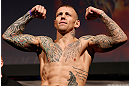 STOCKHOLM, SWEDEN - APRIL 05:  Ross Pearson weighs in during the UFC weigh-in at the Ericsson Globe Arena on April 5, 2013 in Stockholm, Sweden.  (Photo by Josh Hedges/Zuffa LLC/Zuffa LLC via Getty Images)