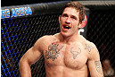STOCKHOLM, SWEDEN - APRIL 06:  Tom Lawlor reacts after defeating Michael Kuiper in their middleweight fight at the Ericsson Globe Arena on April 6, 2013 in Stockholm, Sweden.  (Photo by Josh Hedges/Zuffa LLC/Zuffa LLC via Getty Images)