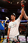 STOCKHOLM, SWEDEN - APRIL 06:  Gegard Mousasi reacts after defeating Ilir Latifi in their light heavyweight fight at the Ericsson Globe Arena on April 6, 2013 in Stockholm, Sweden.  (Photo by Josh Hedges/Zuffa LLC/Zuffa LLC via Getty Images)