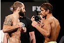 LAS VEGAS, NV - APRIL 12: (L-R) Opponents Sam Sicilia and Maximo Blanco face off during the TUF 17 Finale weigh-in at the Hollywood Theatre at the MGM Grand Hotel/Casino on April 12, 2013 in Las Vegas, Nevada. (Photo by Josh Hedges/Zuffa LLC/Zuffa LLC via Getty Images)
