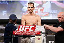 LAS VEGAS, NV - APRIL 12: Cole Miller weighs in during the TUF 17 Finale weigh-in at the Hollywood Theatre at the MGM Grand Hotel/Casino on April 12, 2013 in Las Vegas, Nevada. (Photo by Josh Hedges/Zuffa LLC/Zuffa LLC via Getty Images)