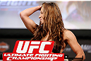 LAS VEGAS, NV - APRIL 12: Miesha Tate weighs in during the TUF 17 Finale weigh-in at the Hollywood Theatre at the MGM Grand Hotel/Casino on April 12, 2013 in Las Vegas, Nevada. (Photo by Josh Hedges/Zuffa LLC/Zuffa LLC via Getty Images)